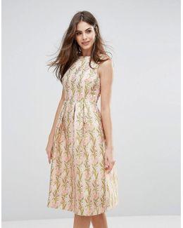 Floral Jacquard Midi Skater Dress