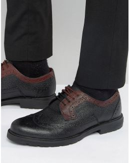 Vortle Brogues In Black & Red Leather