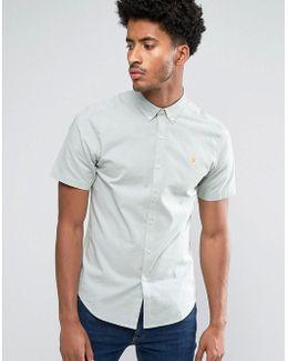 Steen Slim Fit Short Sleeve Oxford Shirt Green