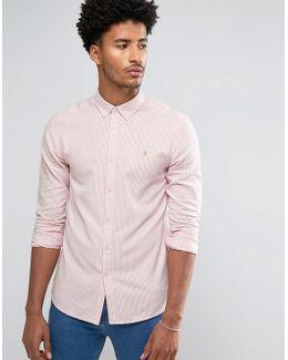 Halwyn Slim Fit Stripe Oxford Shirt Pink