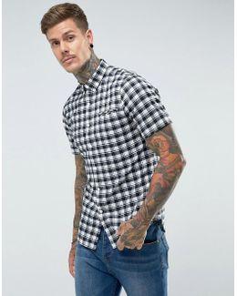 Reydon Slim Fit Textured Check Short Sleeve Shirt Navy