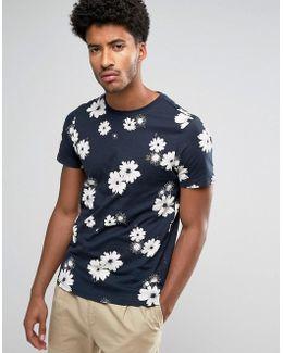 Ragworth Slim Fit Floral Print Tshirt Navy
