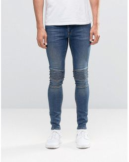 Extreme Super Skinny Jeans With Biker Panels In Dark Wash