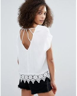 Caged Back Blouse With Lace Detail