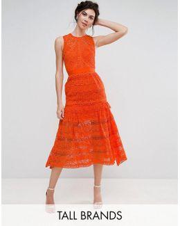 Allover Lace Prom Midi Skater Dress