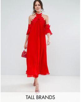 Cold Shoulder Pleated Midi Dress