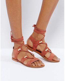 Florentina Suede Western Tie Leg Sandals