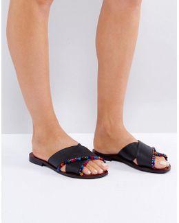 Fresh Start Leather Pom Pom Flat Sliders