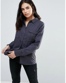 Denim Shirt With Front Pockets
