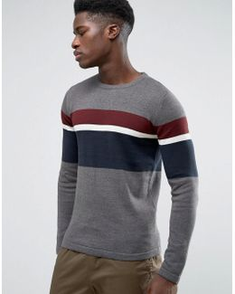 Crew Neck Knitted Jumper With Stripe