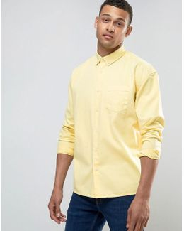 Oversized Shirt In Yellow Overdyed Bleach Twill