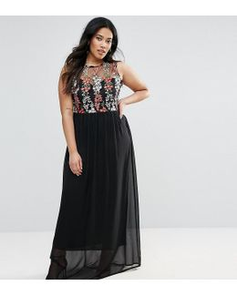 Plus Maxi Dress With Embroidered Top
