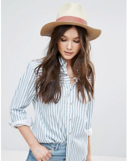 Straw Hat With Red Band Detail