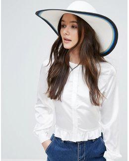 Colour Block Oversized Stripe Floppy Straw Beach Hat