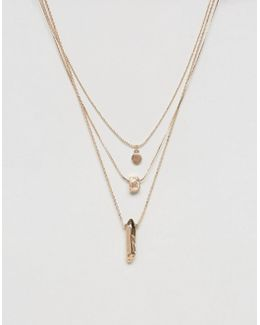Pack Of 3 Gold Nugget Layering Necklaces