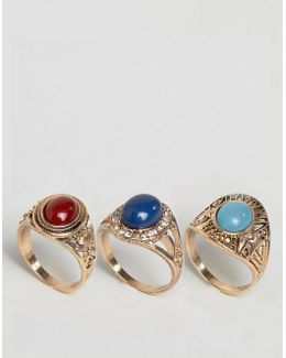 Pack Of 3 Festival Stone Rings