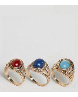 Pack Of 3 Festival Stone Rings