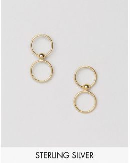 Gold Plated Sterling Silver Open Circle Stud Earrings