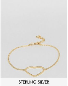 Gold Plated Sterling Silver Open Heart Bracelet