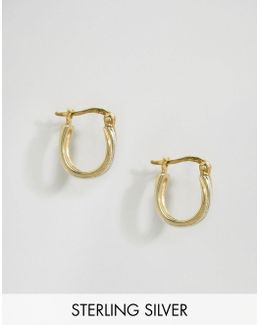 Sterling Silver 13mm Ridge Hoop Earrings