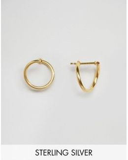Gold Plated 14mm Twist Hoop Earrings