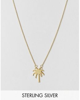 Gold Plated Sterling Silver Palm Tree Necklace