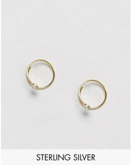 Gold Plated Sterling Silver Crystal Through Hoop Earrings