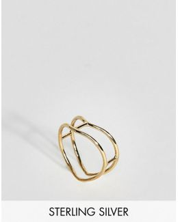 Gold Plated Sterling Silver Double Bar Ring