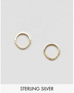 Gold Plated Sterling Silver 10mm Chain Circle Earrings