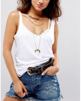 Multirow Layered Choker Horn Necklace
