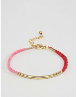 Multirow Cord Bar Bracelet