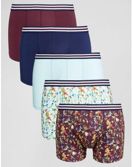 Trunks With Floral Print Microfibre & Stripe Waistband 5 Pack
