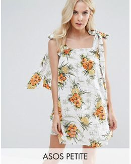 Vintage Tropical Print Sundress With Tie Straps