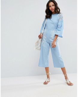 Chambray Jumpsuit With Cutwork And Embroidery