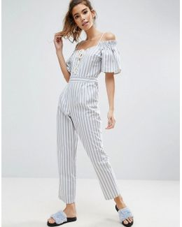 Jumpsuit In Cotton Stripe With Cold Shoulder And Lace Up Front Detail