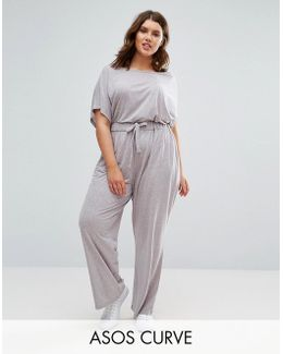 Off Shoulder Jersey Jumpsuit In Slouchy Burnout