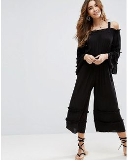 Cold Shoulder Jumpsuit In Crinkle With Frill Detail