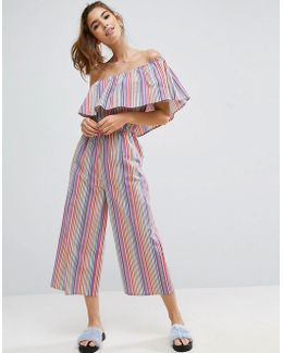 One Shoulder Jumpsuit In Multi Stripe