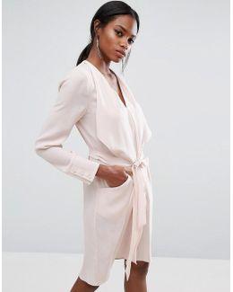 Bcbgmaxazria Ruffle Detail Dress With Belt