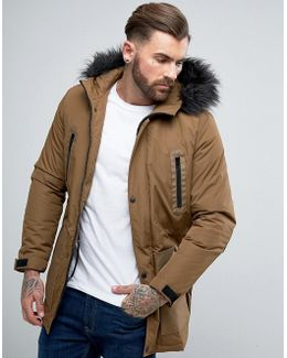 Parka Jacket With Faux Fur Trim In Tobacco