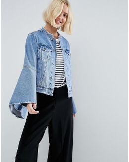 Denim Jacket With Rips And Fluted Sleeve