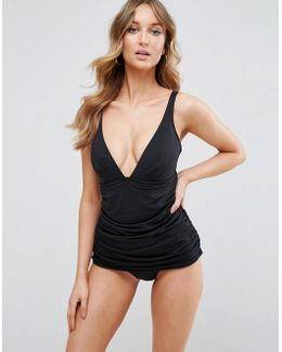 'sculpt Me' Control Gathered Waist Supportive Swimsuit