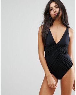 'sculpt Me' Control Drape Front Supportive Swimsuit