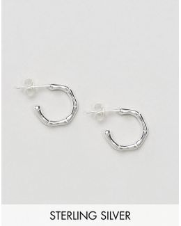 Sterling Silver 14mm Bamboo Hoop Earrings