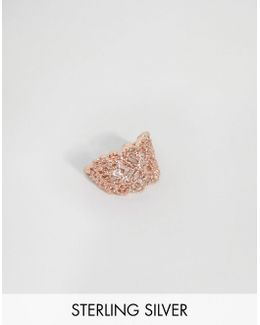 Rose Gold Plated Sterling Silver Filigree Ear Cuff