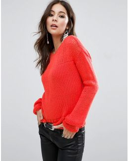 Chunky Sweater In Open Knit