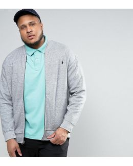 Plus Sweat Bomber Double Knit In Grey Marl