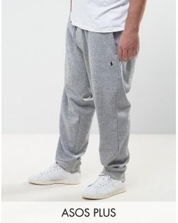 Plus Cuffed Joggers Double Knit In Grey Marl