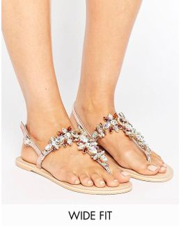 Fairytale Wide Fit Leather Embellished Flat Sandals