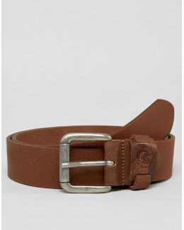 B-fore-u Leather Logo Keeper Belt Brown